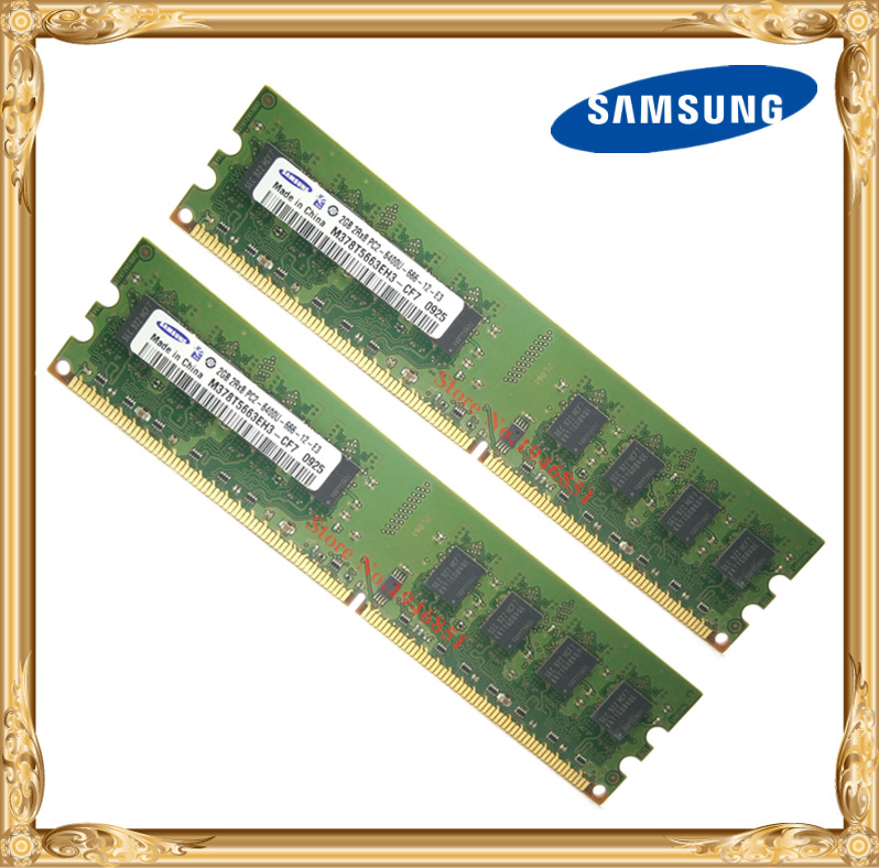 Samsung Desktop memory 4GB 2x2GB 800MHz PC2-6400U DDR2 PC RAM 800 6400 4G 240-pin Free shipping 450260 b21 445167 051 2gb ddr2 800 ecc server memory one year warranty