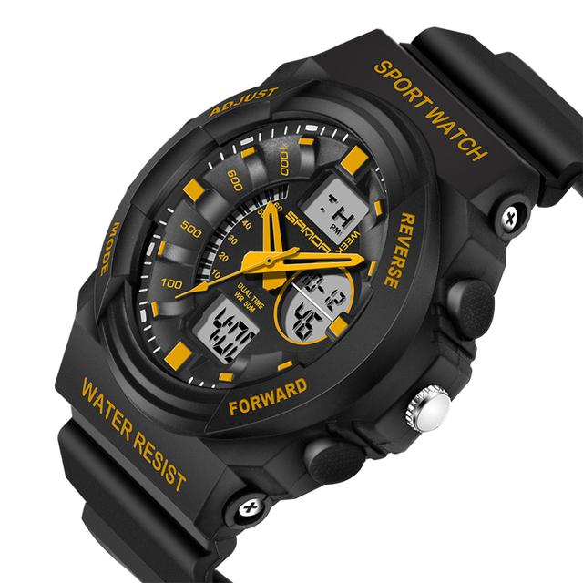 Sanda Esportes Relógios Homens LED Digital Relógio de pulso Preto PU Pulseira de Choque À Prova D' Água Moda Quartzo de Pulso relogio masculino