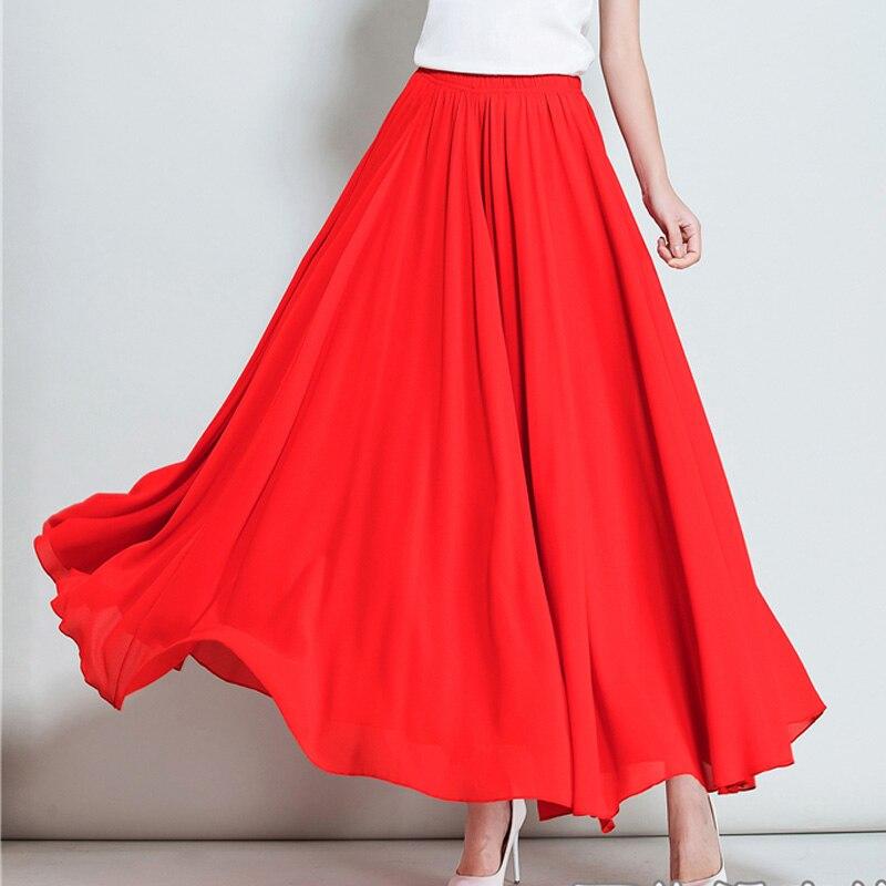 Personnaliser 2017 été nouvelle couleur unie taille haute en mousseline de soie longue jupe femmes bohème grand fond jupes de plage