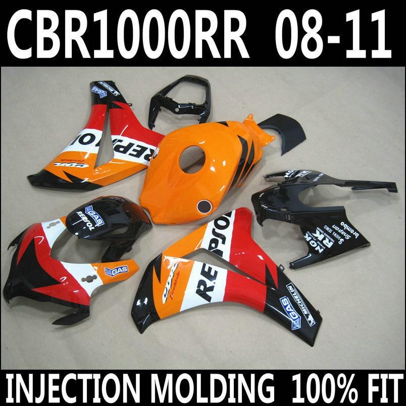 Offre spéciale moulage par injection pour HONDA 2008-2011 cbr1000rr orange blanc noir rouge carénages CBR 1000 RR 08 09 10 11 carénage YBH86