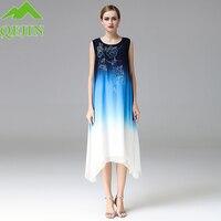 Women Summer Silk Dresses Embroidery Flower O Neck Gradient Blue Color High End Long Style Elegant