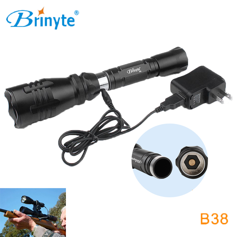Brinyte B38 Outdoor Hunting Flashlight Torch High Quality Cree XM-L2 LED Long Beam Shot Lighting Tactical Flashlight + Charger powerful handlight outdoor tactical flashlight 1300lm tactical led flashlight torch outdoor waterproof aluminum alloy