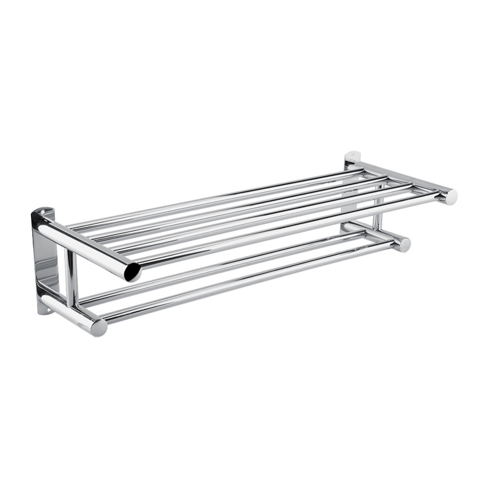 Stainless Steel Towel Rack Polished Rack Holder Towel Wall Mounted Bathrobes Shelf Bathroom