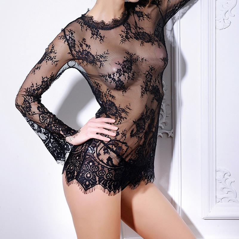 Sexy Costume Women Summer Lace   Blouse     Shirt   Casual Transparent Chemise Femme Tops + G-String Nightwear WS6618V