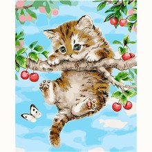 Naughty Cat Lovely Picture Painting Cartoon DIY By Numbers Modern Wall Art Acrylic Hand painted Children Gift