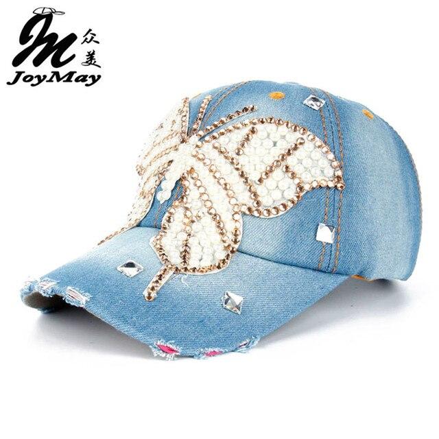 Joymay 2015 nuevo diseño de moda Bling sombrero y gorra perla mariposa  Denim Jean gorra de 8ddea6349c4