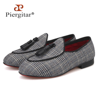 Piergitar 2019 new handmade children tassel shoes red colors shoes outsole kid's loafers parental shoe same men loafers design