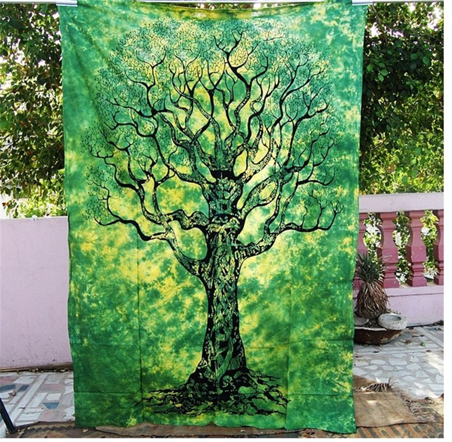 Hot Sale New Green Tree Blue and Colorful Elephant Tree Tapestry ...