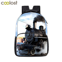 Locomotive / Steam Train Printing Backpack For Teenage Boys Girls Children School Bags Women Men Laptop Backpack Kids Bag