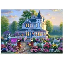 DIY 5D Diamond Painting Bungalow Villa Flower Landscape Cross Stitch Mosaic Embroidery Rhinestone Decorative Crafts