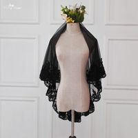 LZP337 Real Picture Bridal Accessories Wedding Veil 1.5 Meters Black Applique Bridal Veil Blusher Veil