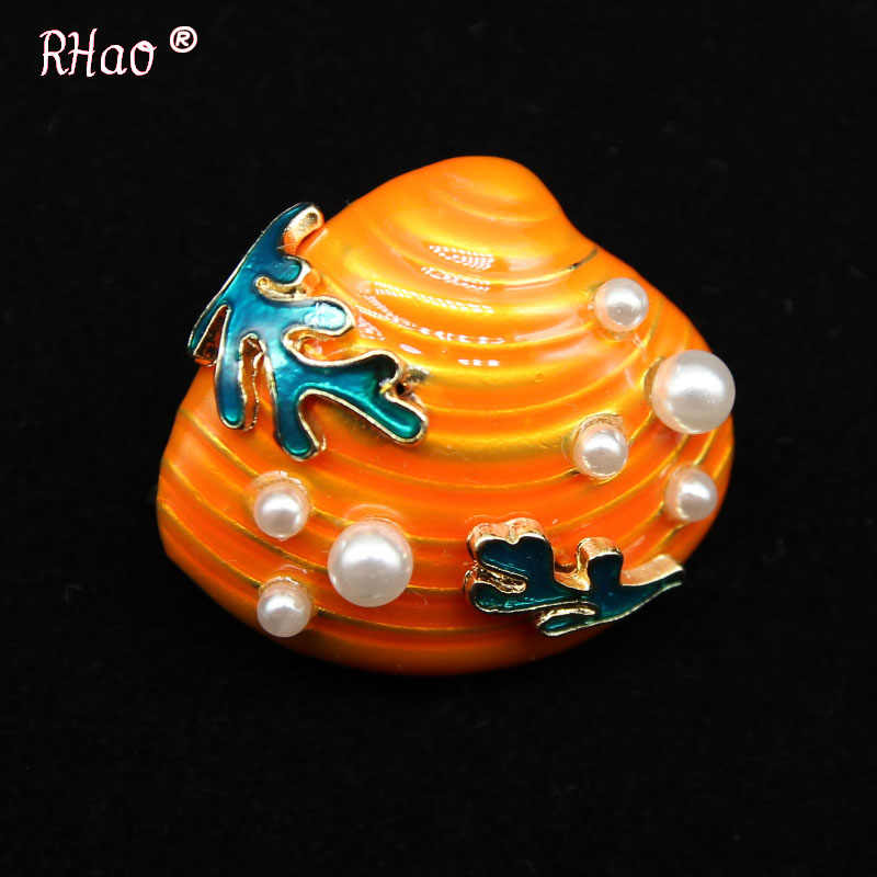 RHao Enamel Orange Shell Mussel Oyster Brooch pins Pearl Conch Sea Snail brooch Women Men suit corsage girls clothes jewelry pin