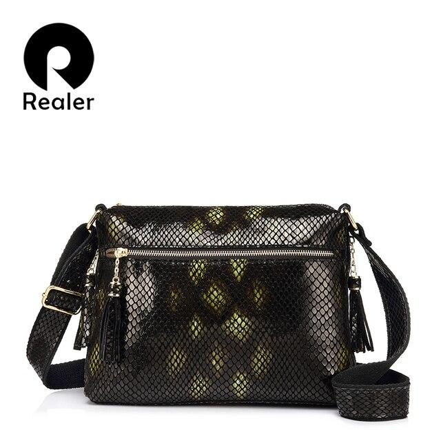 REALER бренд женская сумка через плечо из натуальной кожи со змеиным принтом и кисточкой Новинка 2017