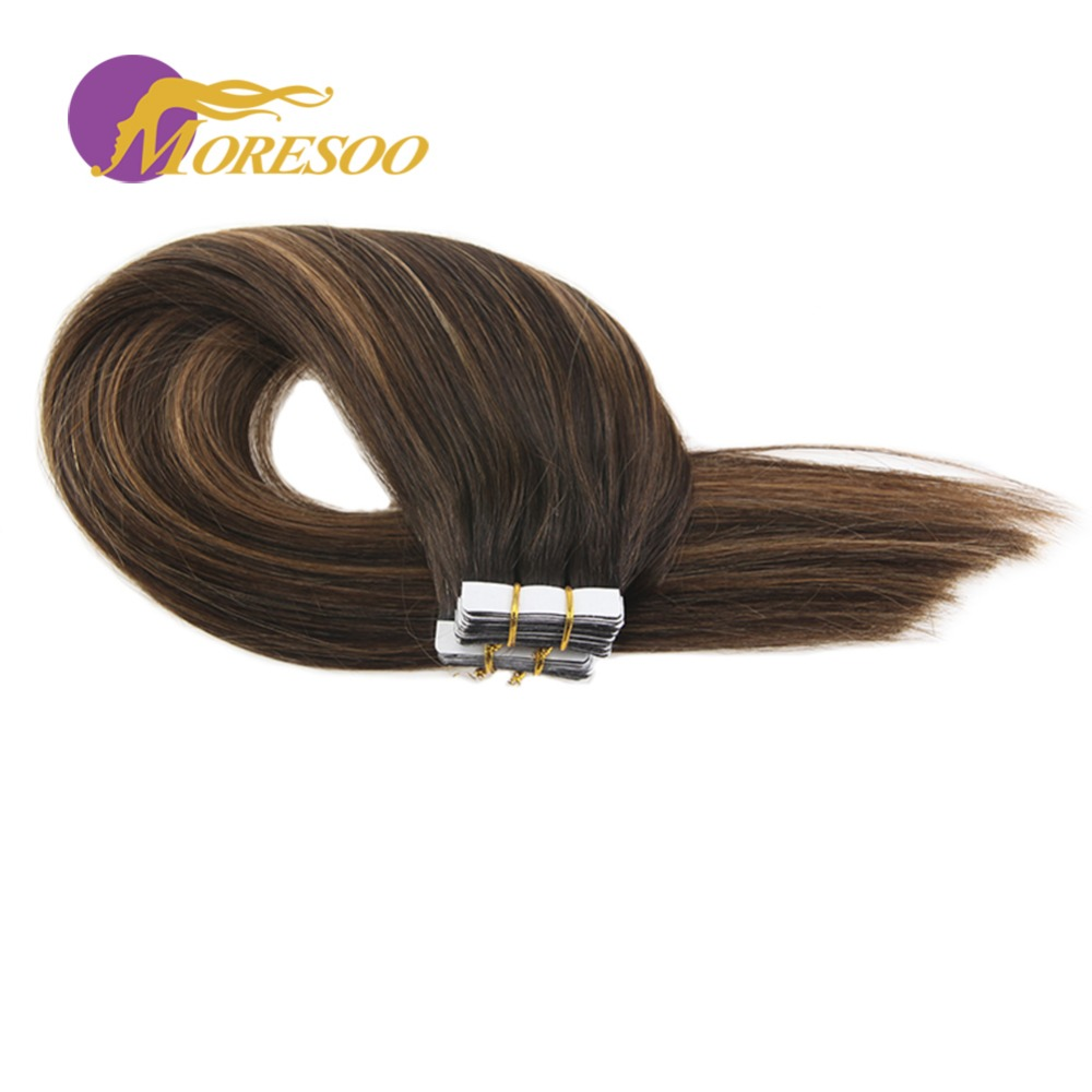 Moresoo Tape in Extensions Human Hair PU Skin Weft Straight Hair Brown Ombre Color Hair Glue 20PCS 50G Tape Extensions Human