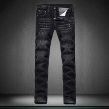 Малый прямо Показать тонкие мужские джинсы мужчин Случайные брюки черные прямые брюки новый мальчик джинсы дизайнер бренда брюки