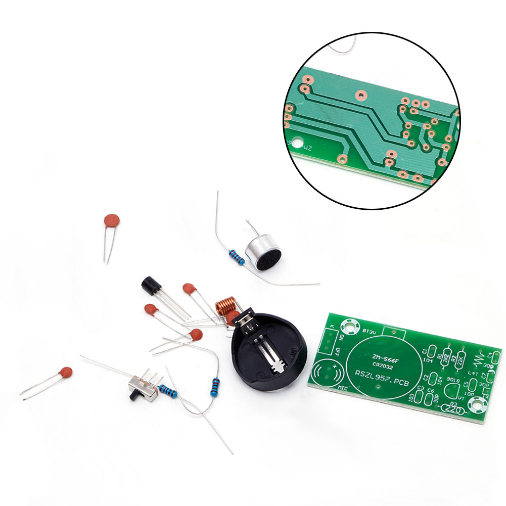 1Pc Simple FM Wireless Microphone Parts Electronic Training DIY Kit New