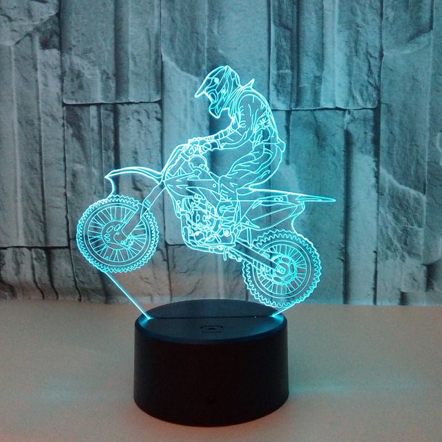 Valentines day gift 7 Color change 3D Hologram ride motorcycle Lamp Lights party favor anniversary gift for boyfriend present 4