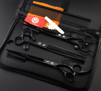 Purple Dragon 3pcs Set 7 Inch Professional Pet Dog Grooming Scissors Straight Curved Thinning Shears Comb