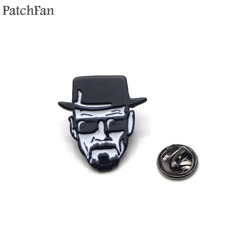Patchfan Breaking Bad Walter white Zinc alloy tie pins badges para shirt bag clothes backpack shoes brooches badges medals A1518 image