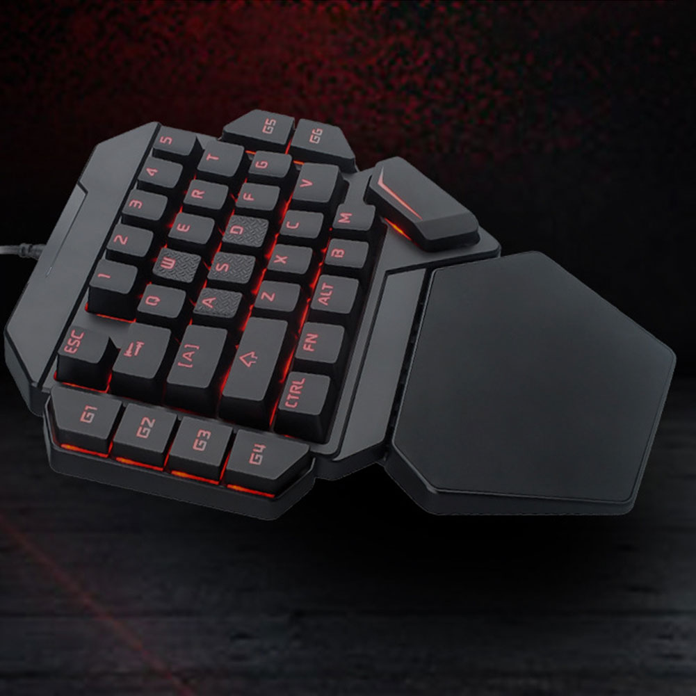 K50 Universal Office Eating Chicken Mini One-handed Wired Desktop Mechanical 35 Keys Gaming Keyboard Portable RGB Backlight USB
