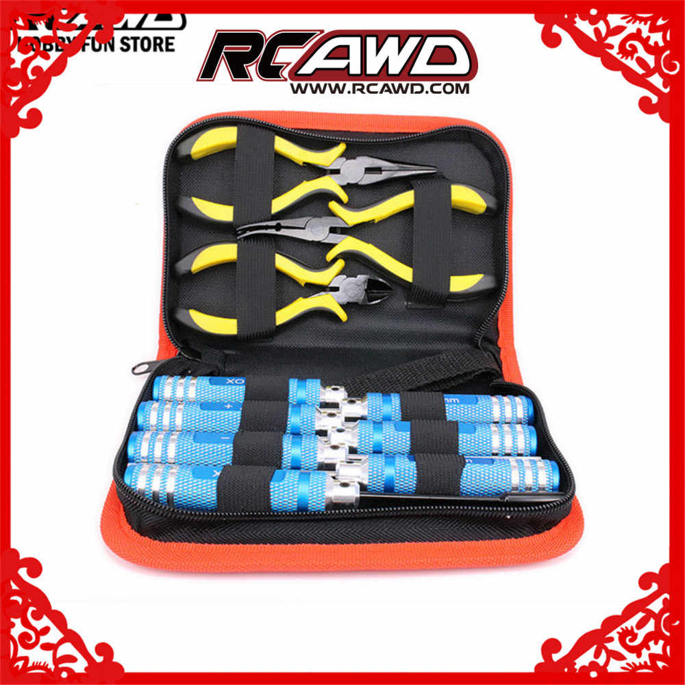 RC Car Tools Set Ball link plier Needle-nose Plier Wire Cable Cutter M1.5 M2 M2.5 M3 Hex Key Phillips Screwdriver Box Spanner