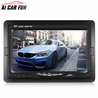 Universal 7 inch Security Reverse Backup Parking VCR DVD Player 2 AV input HD LCD Color TFT Car Monitor for Rear View Camera