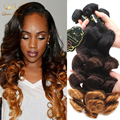 Ombre Peruvian Hair Loose Wave Queen Berry Hair 3 Tone 1B/4/30 8a Hot Peruvian Virgin Hair 3 Bundles Loose Wave Hair Bundles