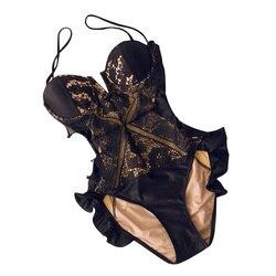 XS-XL, 2019, Черная Женская одежда для плавания, новинка 2019, цельный сетчатый купальник, сексуальный женский купальный костюм, купальник, монокин... 5