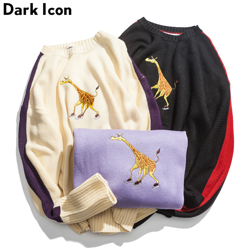 Embroidery Round Neck Men's Sweater 2018 Winter Color Block On Sleeve Preppy Style Sweater Men 3 Colors