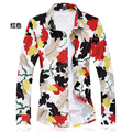 C610 2017 Мужские Рубашки Больших Размеров С Длинным Рукавом Плед Цветочные Рубашки Мужчины М-5XL 6XL 7XL Мужская Мода Рубашки