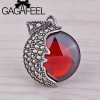 Beautiful Garnet Moon Charm Fit For Necklace Or Bracelet Wholesale Thailand DIY Accessories 925 Sterling Silver
