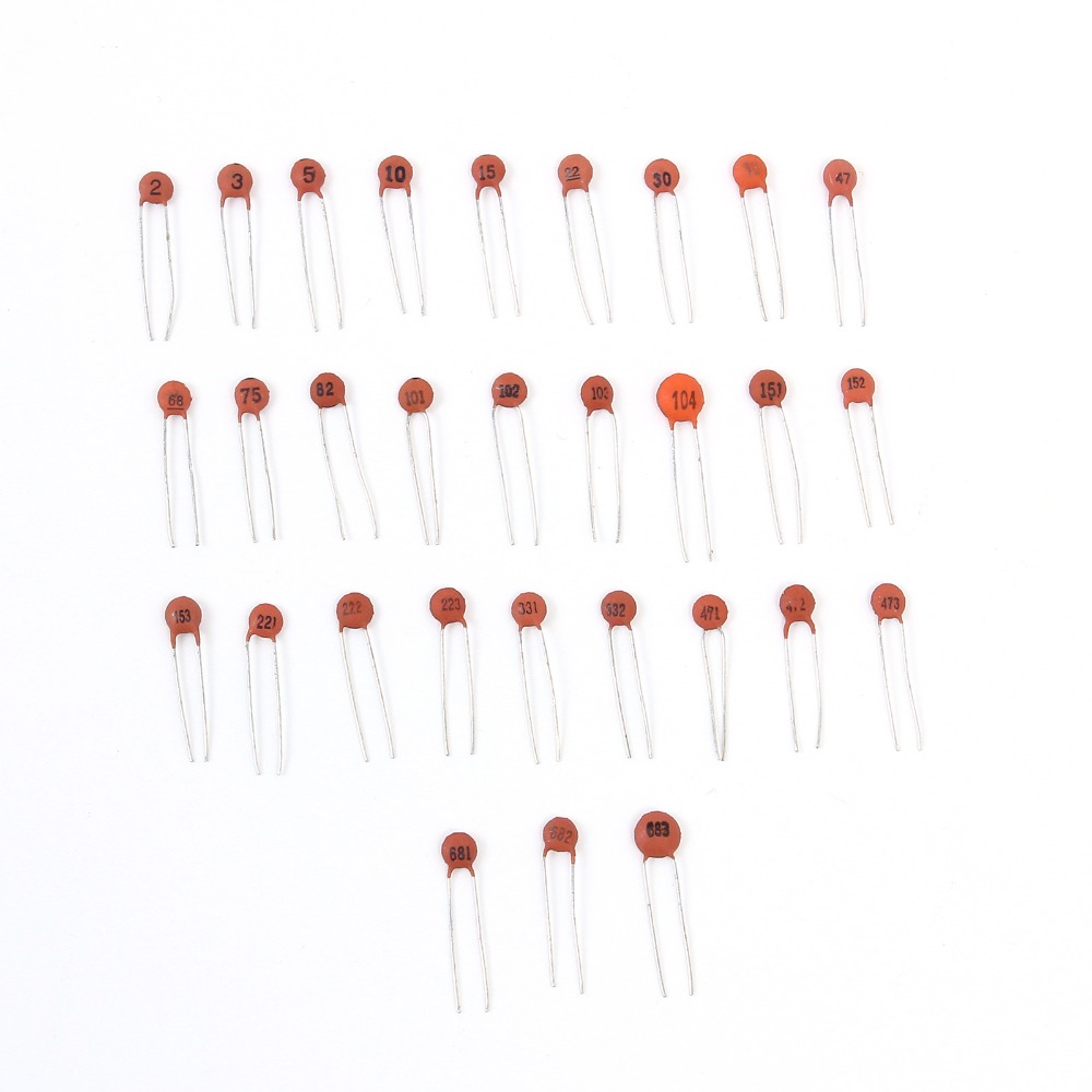 30 Values 300pcs 2PF~0.1UF Ceramic Capacitors Assortment Kit N