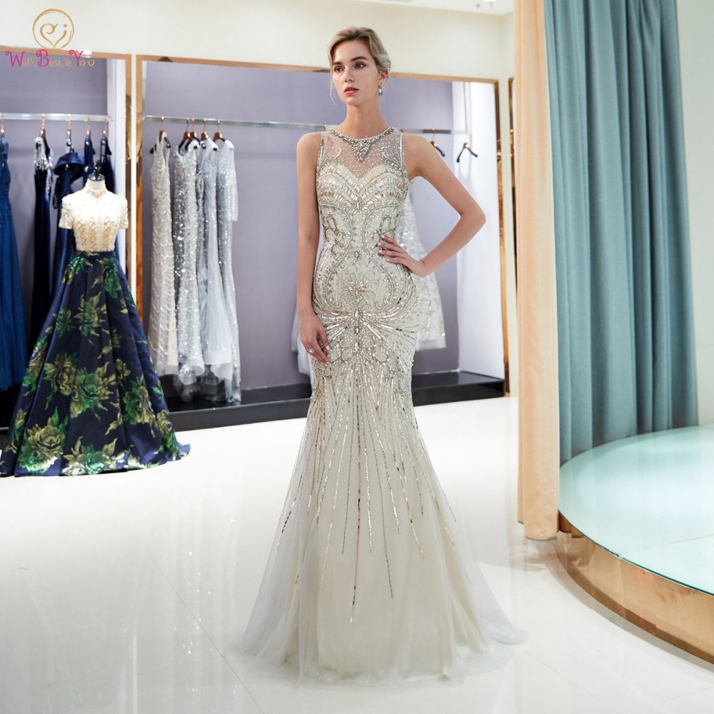 Walk Beside You Light Gray Prom Dresses Mermaid Crystal O neck Tulle Illusion Gold Sweep Train