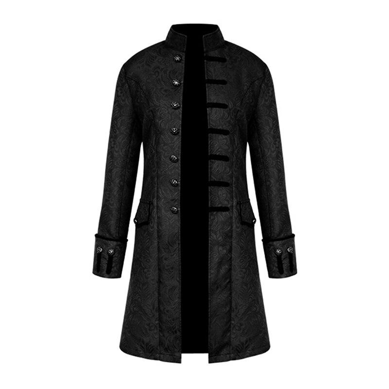 Spring Retro Gothic Steampunk Jacket Men Vintage Floral Outerwear Coat Casual Windbreaker Button Mens Overcoat Plus Size Jacket