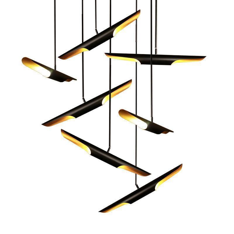 coltrane suspension led lights black aluminum pipe pendant lamp modern Art Deco LED pendant light outer black,inner gold 1 light modern led conical pendant light aluminum