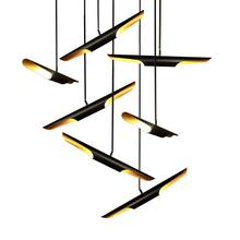 coltrane suspension led lights black aluminum pipe pendant lamp modern Art Deco LED light outer black,inner gold 1