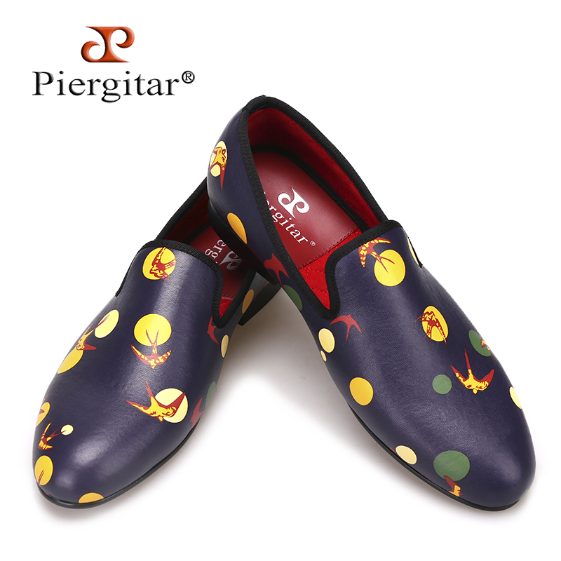 Piergitar 2018 new style Handmade men loafers with Mixed Colors printing Big size Men's casual shoes for Fashion party and prom piergitar 2017 men leather shoes with mixed colors shining rhinestone luxurious brand party and wedding men s loafers male flats