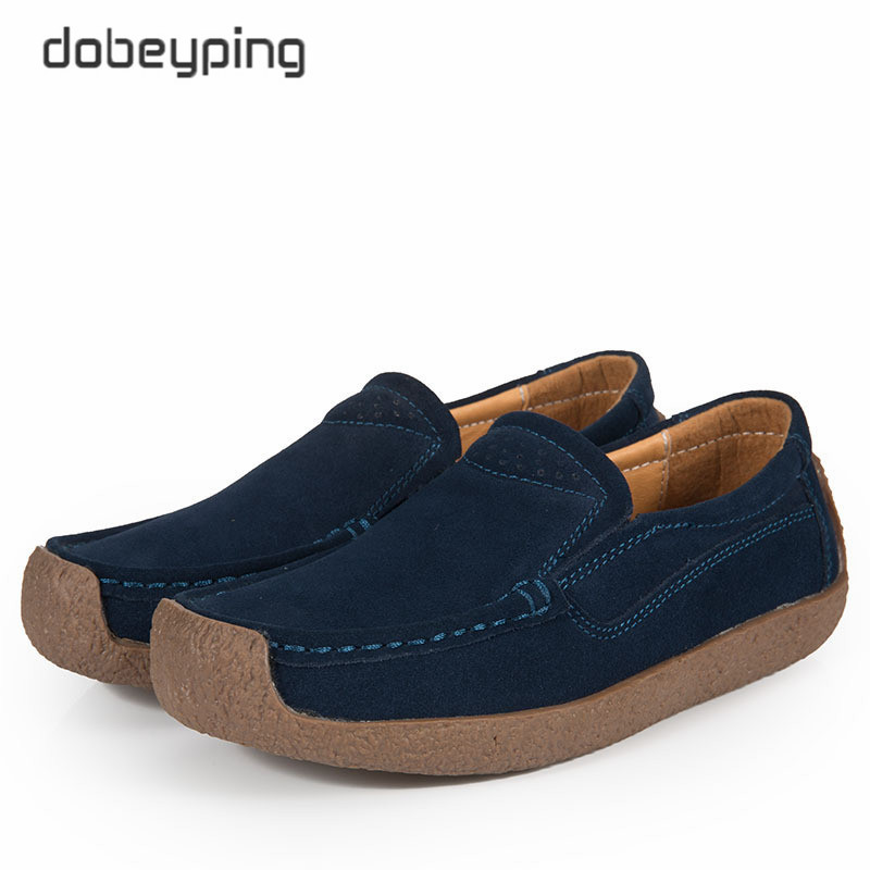 dobeyping Retro Spring Autumn Shoes Woman Cow   Suede     Leather   Women Shoes Slip On Women's Loafers Moccasins Flats Female Sneakers