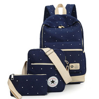 Lisse Dot printing Simple backpacks outdoor Casual Canvas Bag Big capacity school bag with message bag and clutch bag