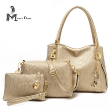 Composite bag 3 piece handbag set pu leather women bag composite bag set pu leather golden