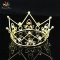 Estrela pavão Banhado A Ouro Mini Coroa Do Bebê Recém-nascido Foto Prop Tiara Full Circle Rodada CT1136