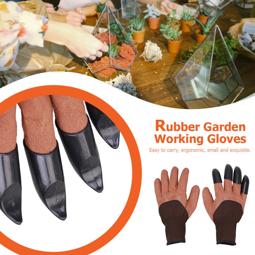 1Pair Garden Gloves 4 Right Hand Claw Fingertip ABS Plastic Gloves Quick Excavation Plant For Household Greenhouse Digging Plant