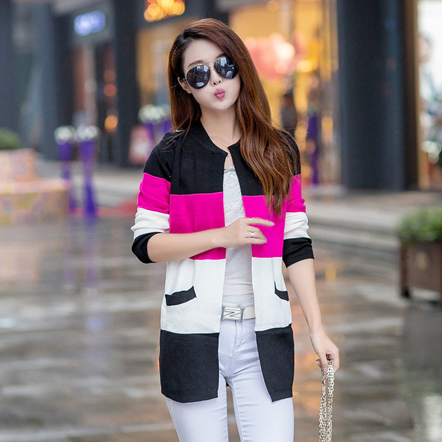 2017 fall and winter cardigan sweater Knitted Cotton Patchwork O-Neck Long Sleeve Loose Fashion Leisure cardigan women HX4