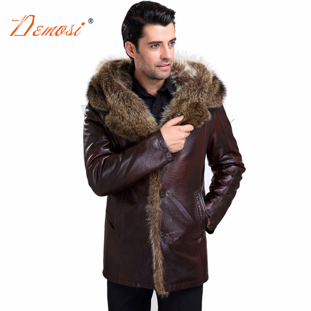 9d6b05059ee winter raccoon fur coat natural men real fur lined leather jackets with fur  collar luxury warm overcoat plus size leather jacket