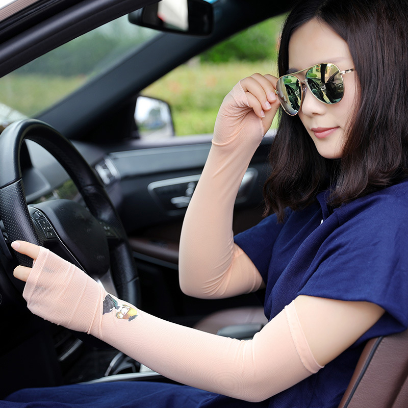1 Pair Floral Female UV Protection Car Driving Gloves Cycling Wrist Arm Cuff Hand Women Fingerless Long Gloves Mangas Del Brazo