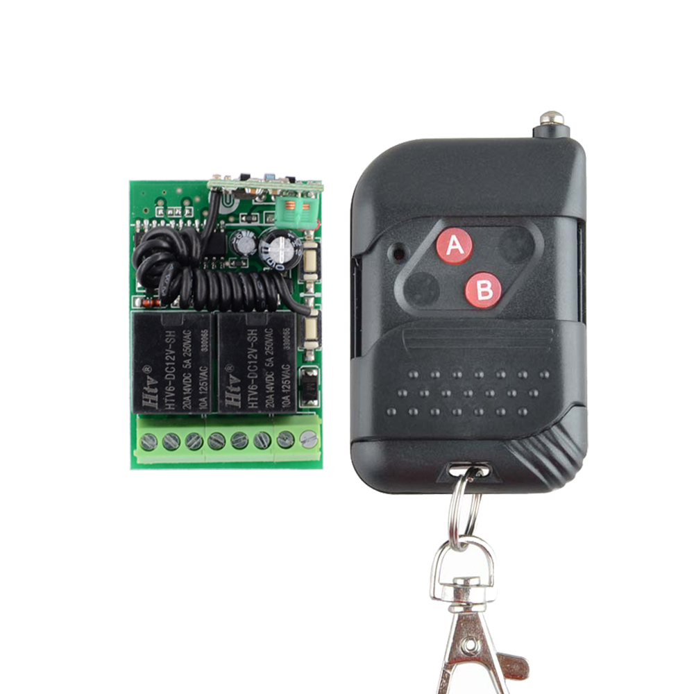 Home Smart DC 12V 2CH 10A Wireless Remote Control Light Switch Mini Receiver With 1/4 Color AB Button Transmitter 315mhz/433mhz 315 433mhz 12v 2ch remote control light on off switch 3transmitter 1receiver momentary toggle latched with relay indicator