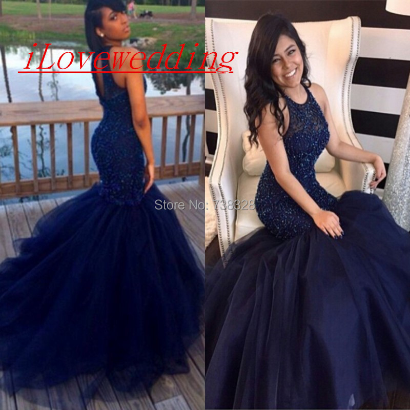 3d1d2723fee Sexy Puffy Skirt Mermaid Prom Dresses With Beaded Dark Blue Open Back Tulle 2016  Long Party Evening Dress Gown Vestidos
