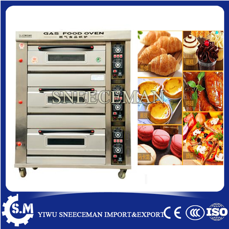 3 layers 6 trays gas bread deck oven bakery oven prices baking pizza machine цена и фото