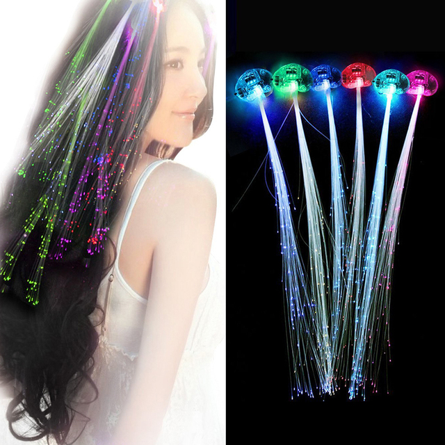 12pcs Creative LED Fiber Optic Light Pumpkin Fake Hair Braid