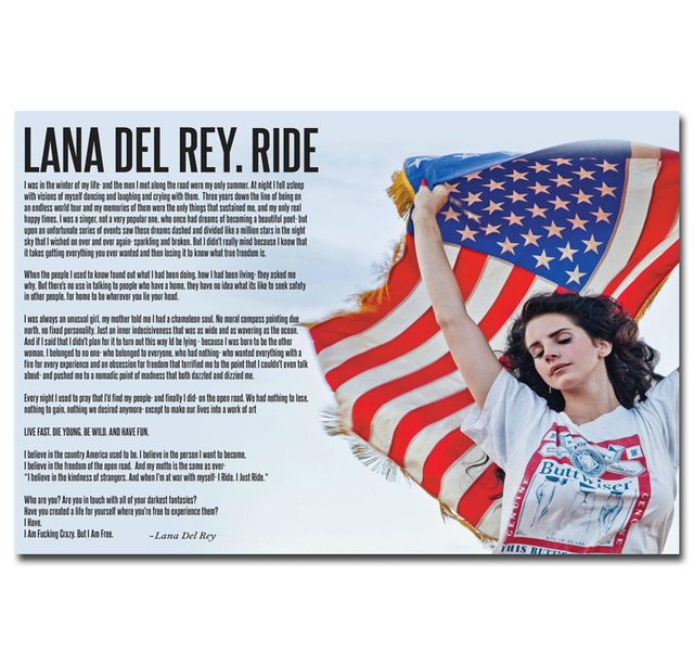 Mq1745 Lana Del Rey Singer Soul Music Star Quotes Hot New Art Poster